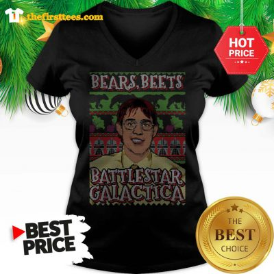 Official Michael Scott Bears Beets Battlestar Galactica Ugly Christmas V-neck - Design by Thefristtees.com