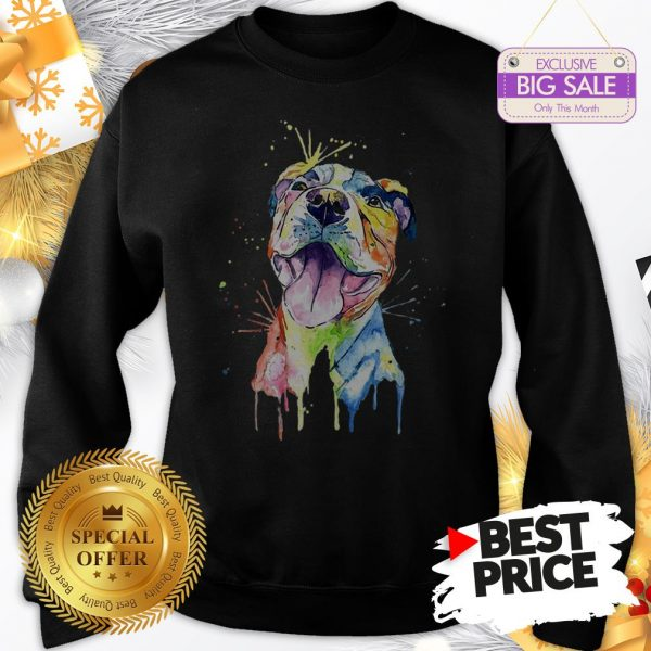 Official Resting Pitbull Face Artistic Colors Sweatshirt