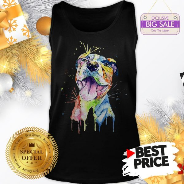 Official Resting Pitbull Face Artistic Colors Tank Top