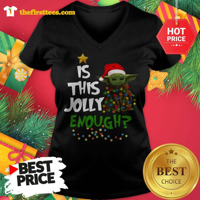 Official Santa Baby Yoda Is This Jolly Enough Christmas V-neck - Design by Thefristtees.com