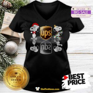 Official Wonderful Snoopy Ups Water Mirror Reflection Christmas V-Neck - Design by Thefristtees.com
