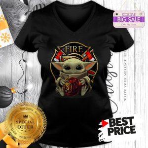 Star Wars Baby Yoda Hug Firefighter Captain V-Neck