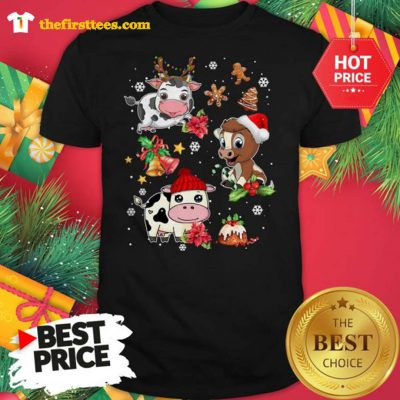 Three Funny Baby Cows Chibi Merry Christmas Shirt - Design by Thefristtees.com