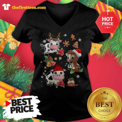 Three Funny Baby Cows Chibi Merry Christmas V-neck - Design by Thefristtees.com
