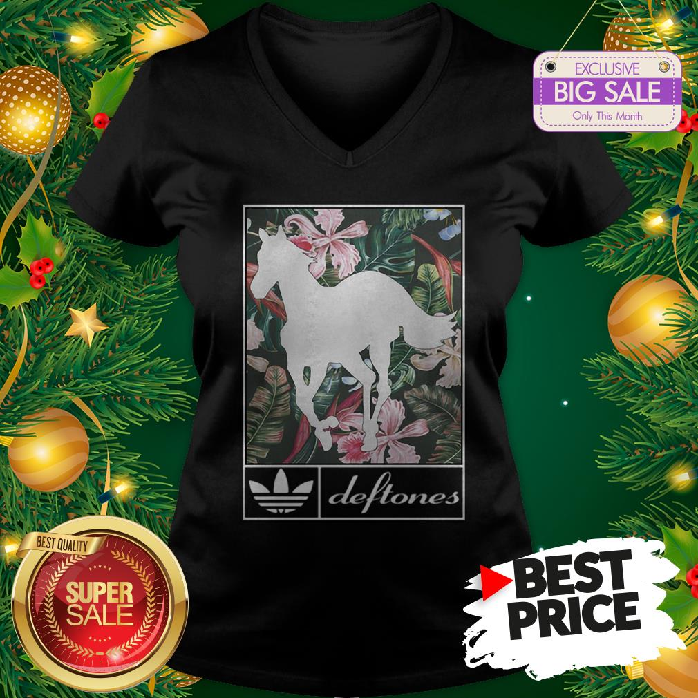 Wonderful Adidas Deftones Horse Floral V-Neck