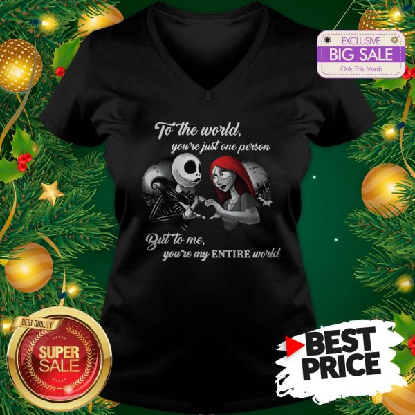 Wonderful Jack And Sally To The World You're Just One Person Entire World V-Neck