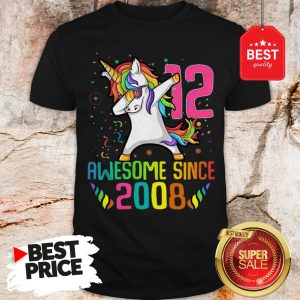 Official Awesome Since 2008 12 Years Old 12th Birthday Unicorn Dabbing Shirt