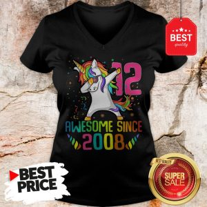 Official Awesome Since 2008 12 Years Old 12th Birthday Unicorn Dabbing V-neck