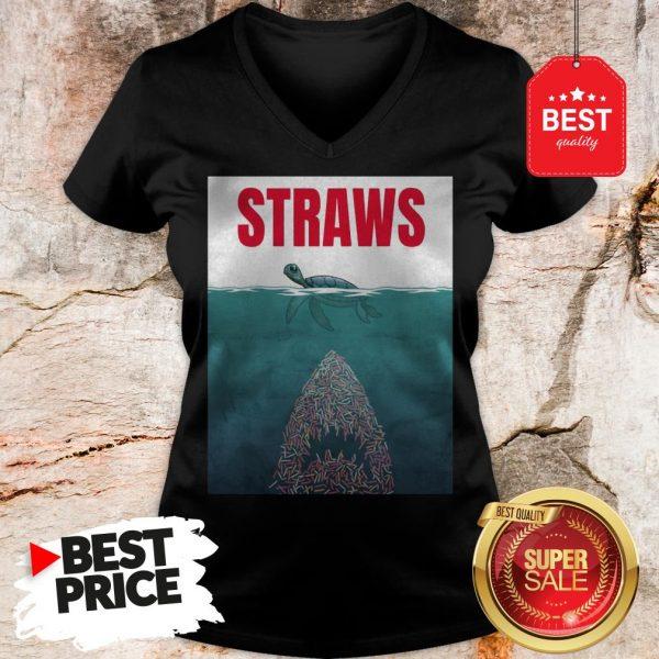 Official Straws ParOfficial Straws Parody Jaws Shirtody Jaws V-Neck