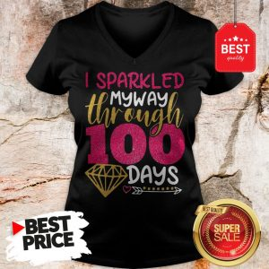 Wonderful Glitter I sparkled My Way Through 100 Days V-Neck