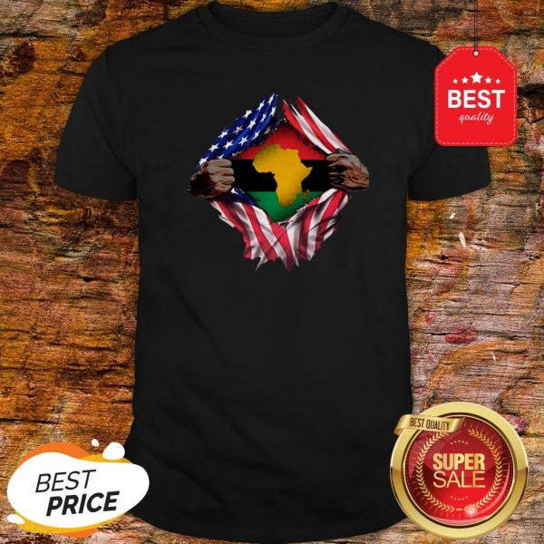 Official Pan-Africanism Blood Inside Me South African American Flag Shirt