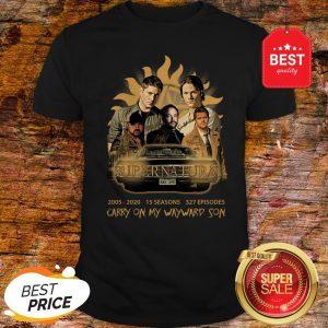 Official Supernatural 2005 2020 15 Seasons 327 Ep Carry On My Wayward Son Shirt