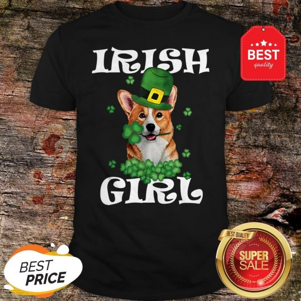 Irish Girl Dog Corgi Lover Saint Patrick's Day Patty's Day Shirt