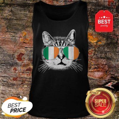 Irish Flag Cat St. Patrick's Day Catrick's Cattys Womens Men Tank Top