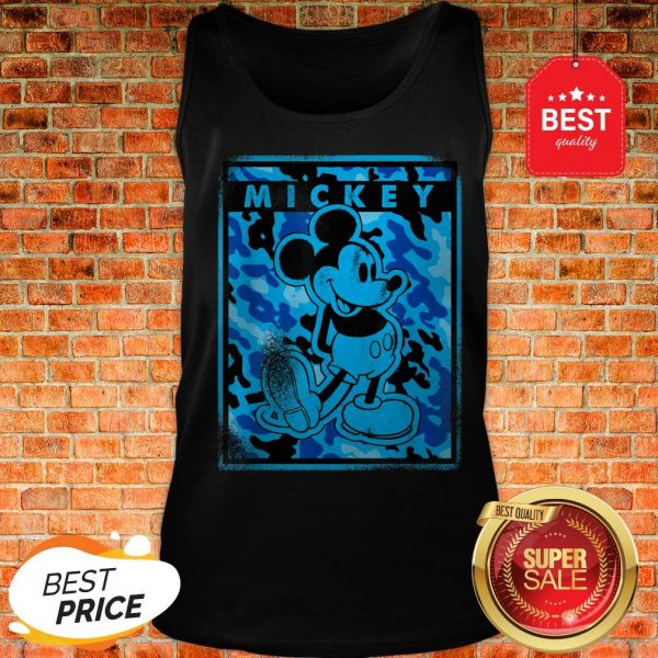 Official Disney Blue Camo Mickey Mouse Nation Tank Top