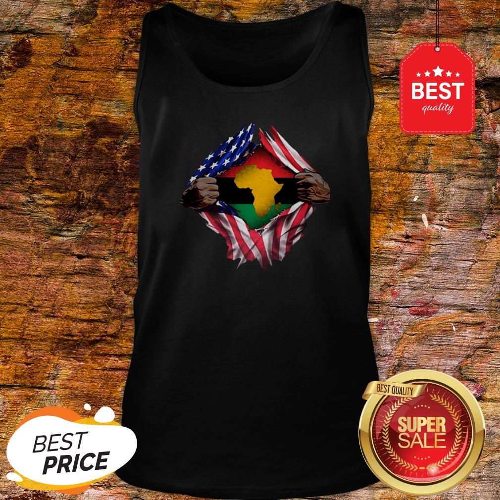 Official Pan-Africanism Blood Inside Me South African American Flag Tank Top