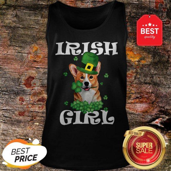 Irish Girl Dog Corgi Lover Saint Patrick's Day Patty's Day Tank Top