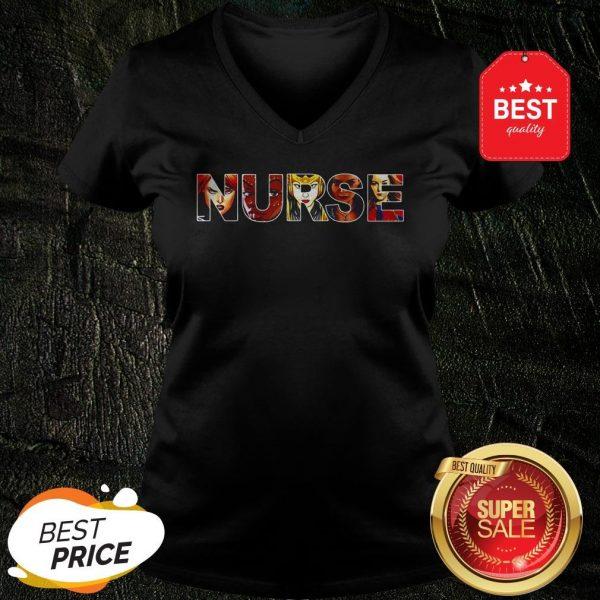 Official Women Superheroes Marvel Nurse V-Neck