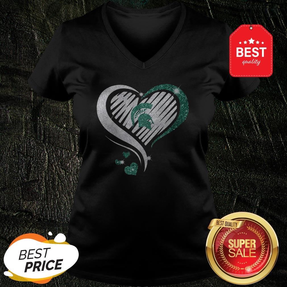 Official Michigan State Spartan Diamond Heart V-Neck