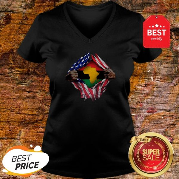 Official Pan-Africanism Blood Inside Me South African American Flag V-Neck