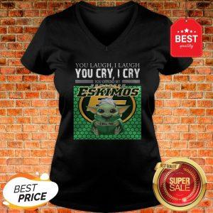 Baby Yoda You Laugh I Laugh You Cry Edmonton Eskimos Star Wars V-Neck