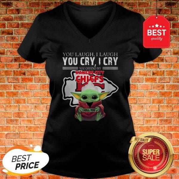 Baby Yoda You Laugh I Laugh You Cry Kansas City Chiefs Star Wars V-Neck