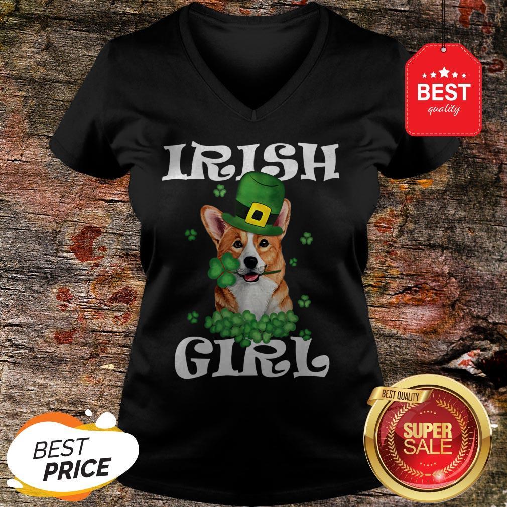Irish Girl Dog Corgi Lover Saint Patrick's Day Patty's Day V-Neck