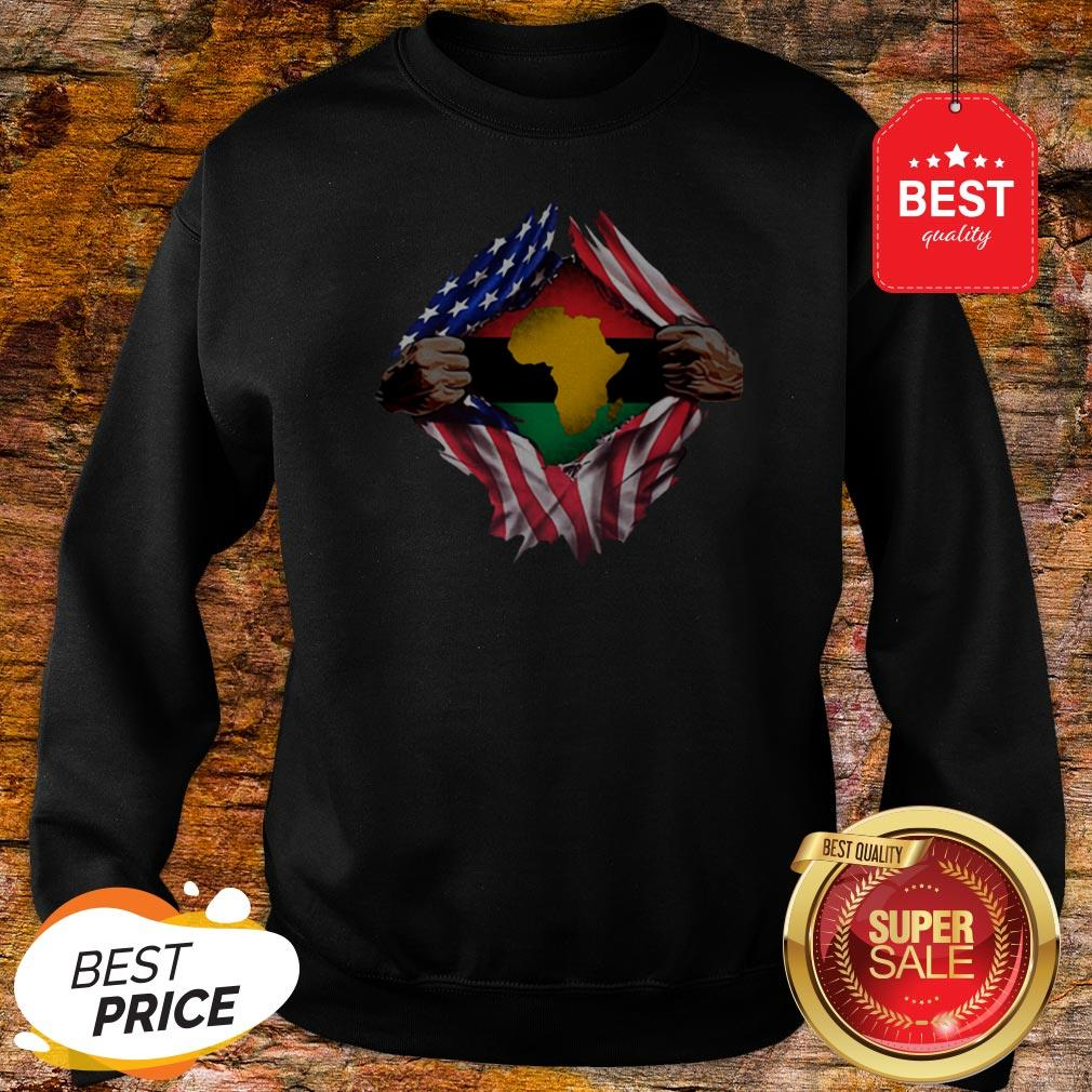 Official Pan-Africanism Blood Inside Me South African American Flag Sweatshirt