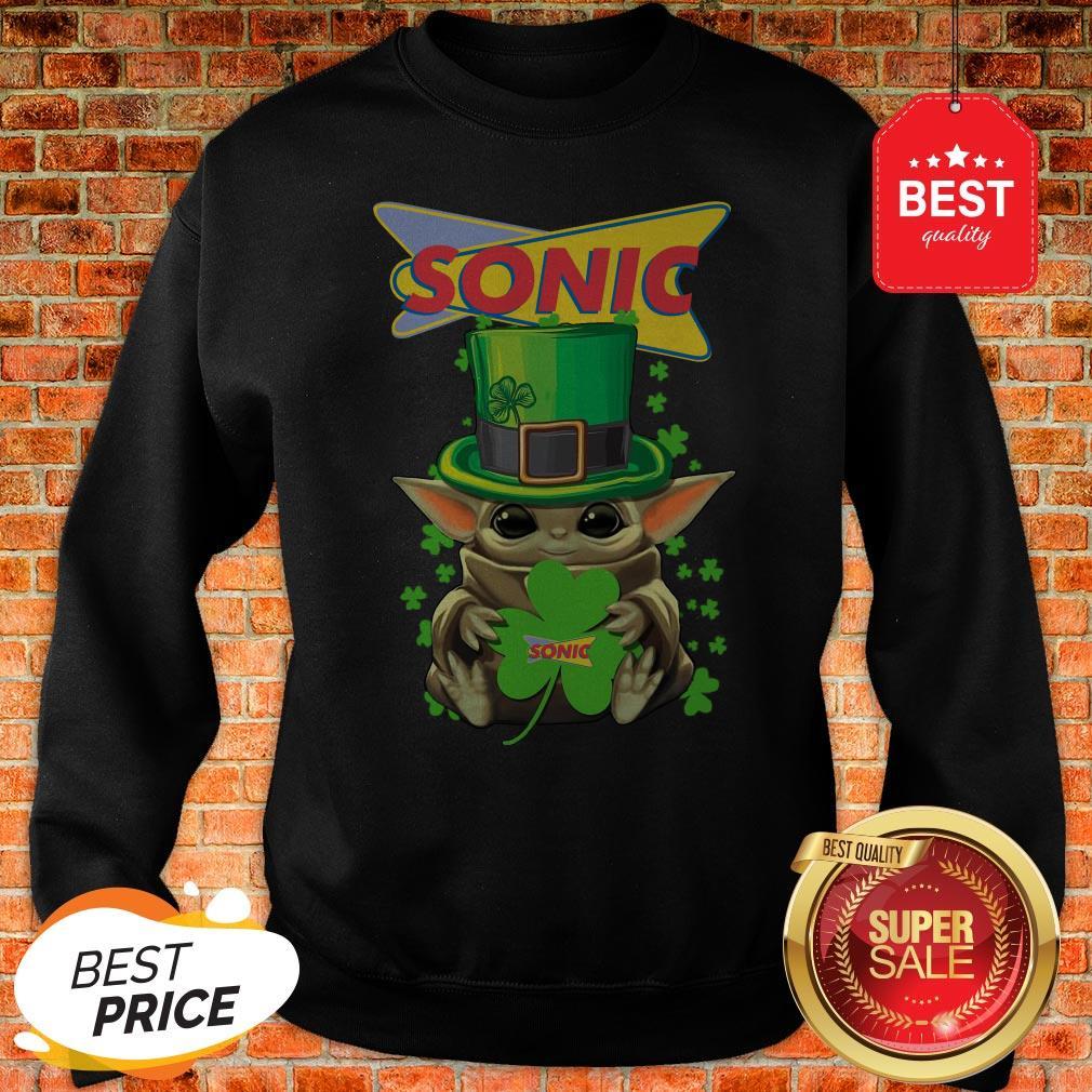 Baby Yoda Sonic Shamrock St. Patrick's Day Star Wars Sweatshirt