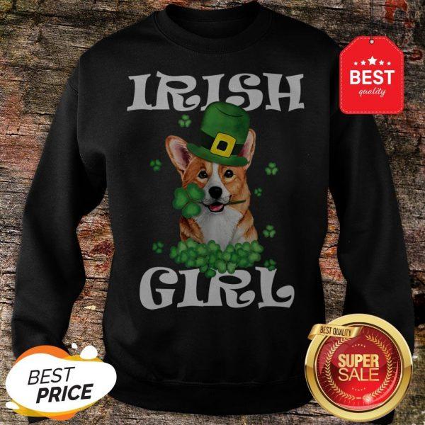Irish Girl Dog Corgi Lover Saint Patrick's Day Patty's Day Sweatshirt