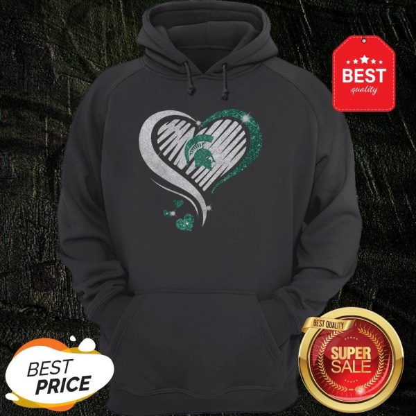 Official Michigan State Spartan Diamond Heart Hoodie