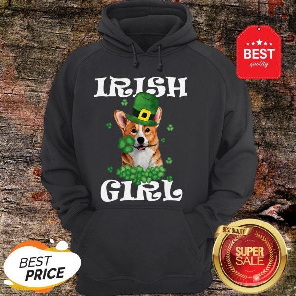 Irish Girl Dog Corgi Lover Saint Patrick's Day Patty's Day Hoodie