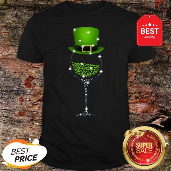 Official St Patrick's Day Shamrock Wine Glass Shirt