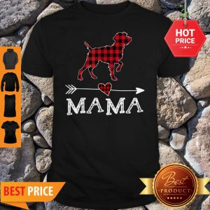 Official Womens Red Plaid Mama Wirehaired Pointing Griffon Dog Mom Shirt