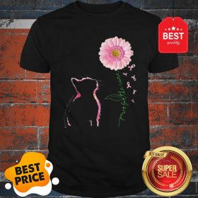 Paws For The Cure Cat Sunflowers Breast Cancer Awareness Shirt