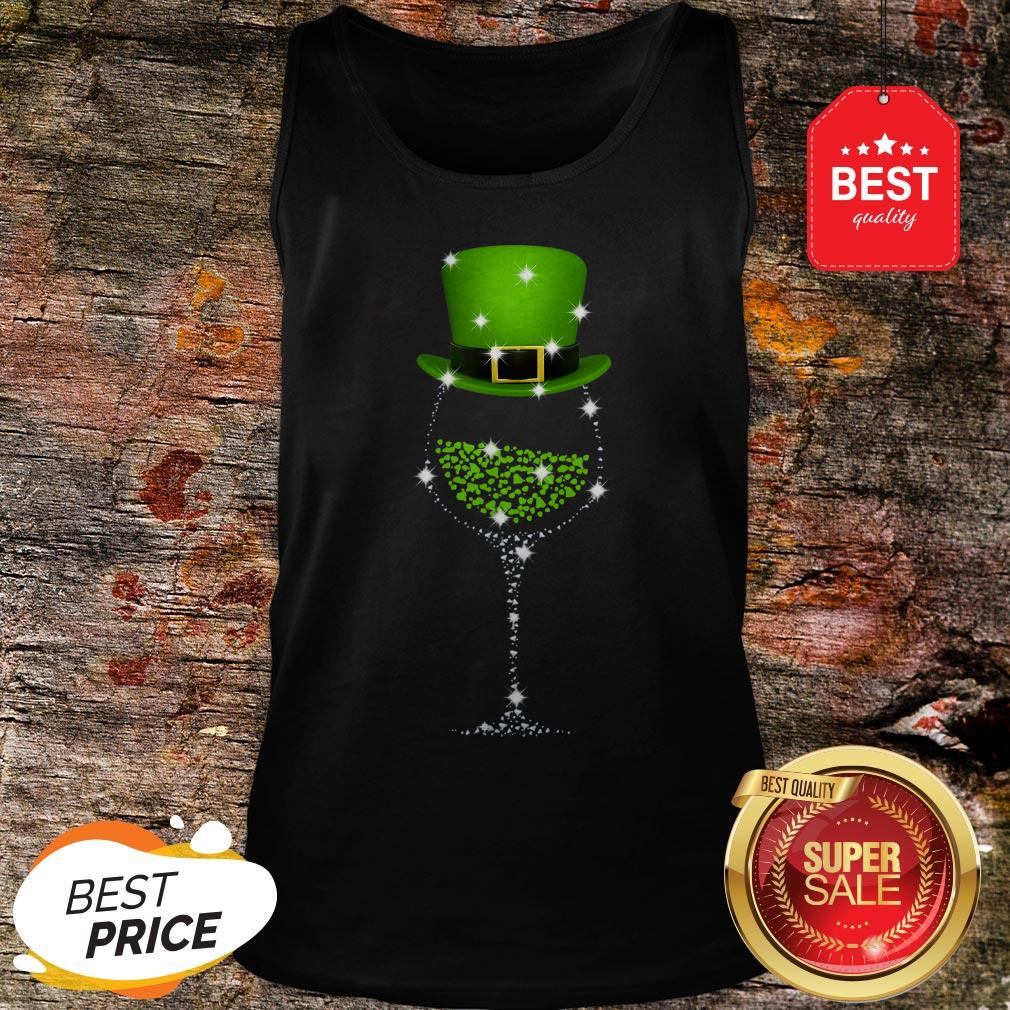 Official St Patrick's Day Shamrock Wine Glass Tank Top