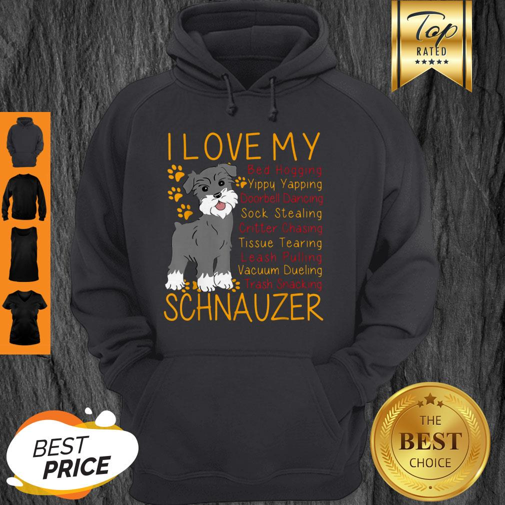 Official I Love My Schnauzer Bed Hogging Hoodie