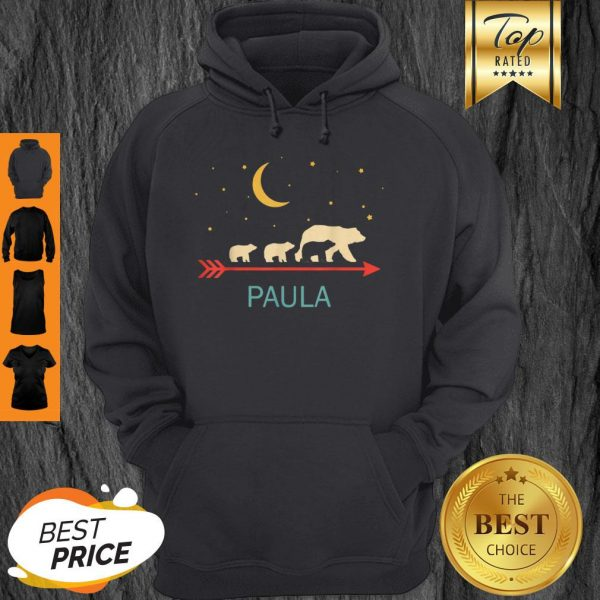 Top Paula Name Gift Personalized Mama Bear With 3 Cubs Hoodie