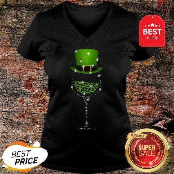 Official St Patrick's Day Shamrock Wine Glass V-Neck