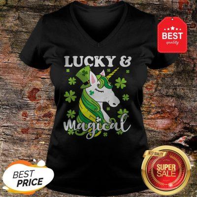 Unicorn Magical St Patricks Day Lepricorn Girl Women Costume V-Neck