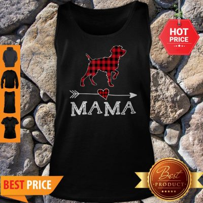 Official Womens Red Plaid Mama Wirehaired Pointing Griffon Dog Mom Tank Top