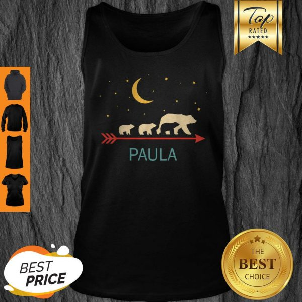 Top Paula Name Gift Personalized Mama Bear With 3 Cubs Tank Top