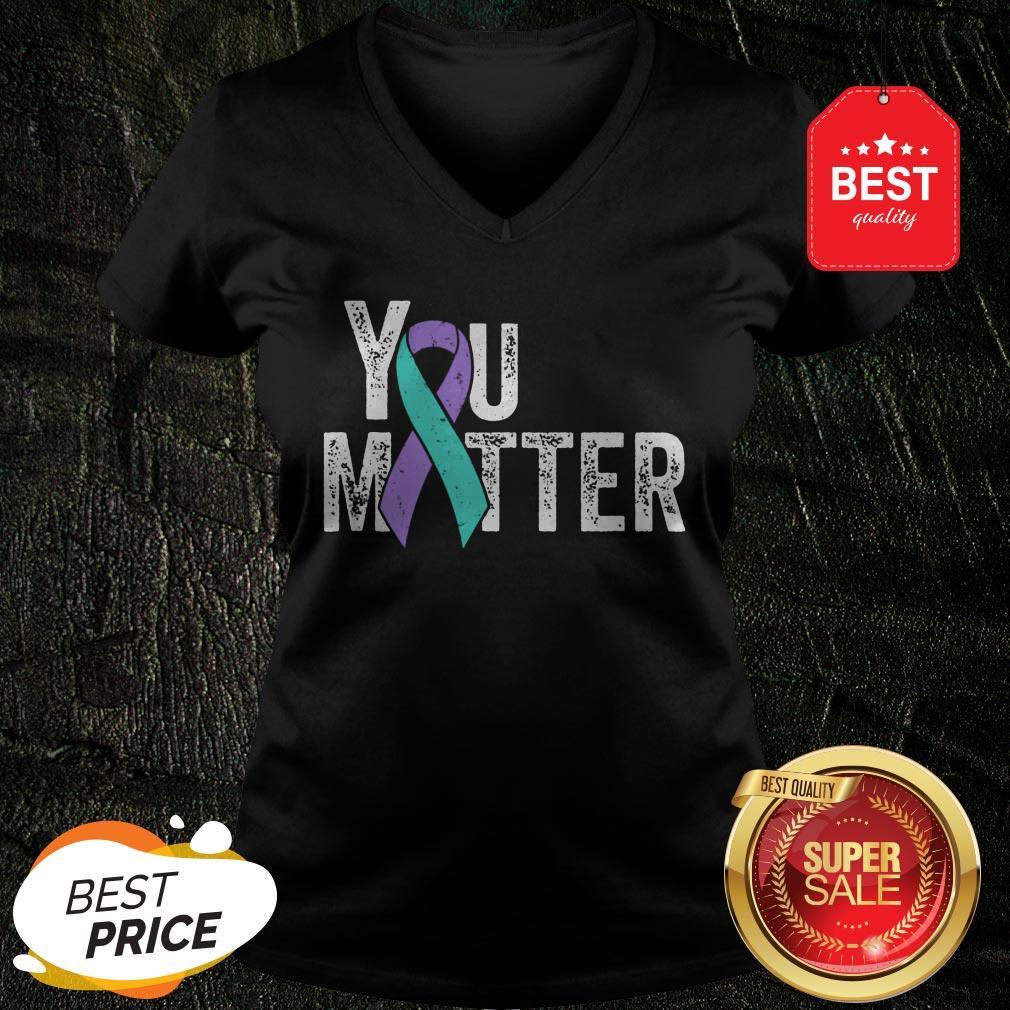 You Matter – Suicide Prevention Teal Purple Awareness Ribbon V-Neck