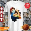 Official Strong Girl Tattoos Farmer Coronavirus V-Neck