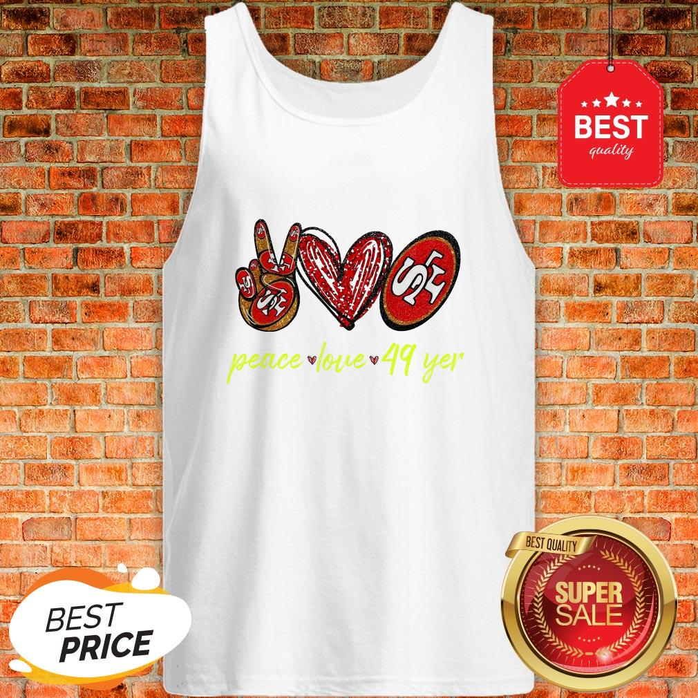 Official Peace Love San Francisco 49ers Tank Top