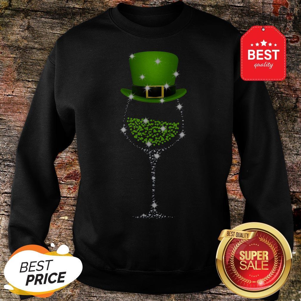 Official St Patrick's Day Shamrock Wine Glass Sweatshirt