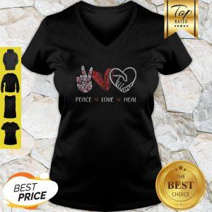 Official Peace Love Heal Heart Diamond V-Neck