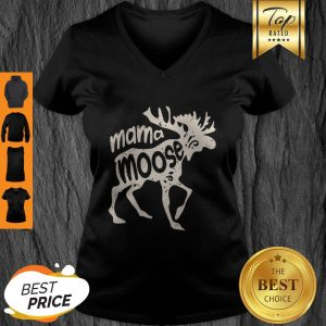 Top Mama Moose Women Mothers Day Family Matching Tees V-Neck