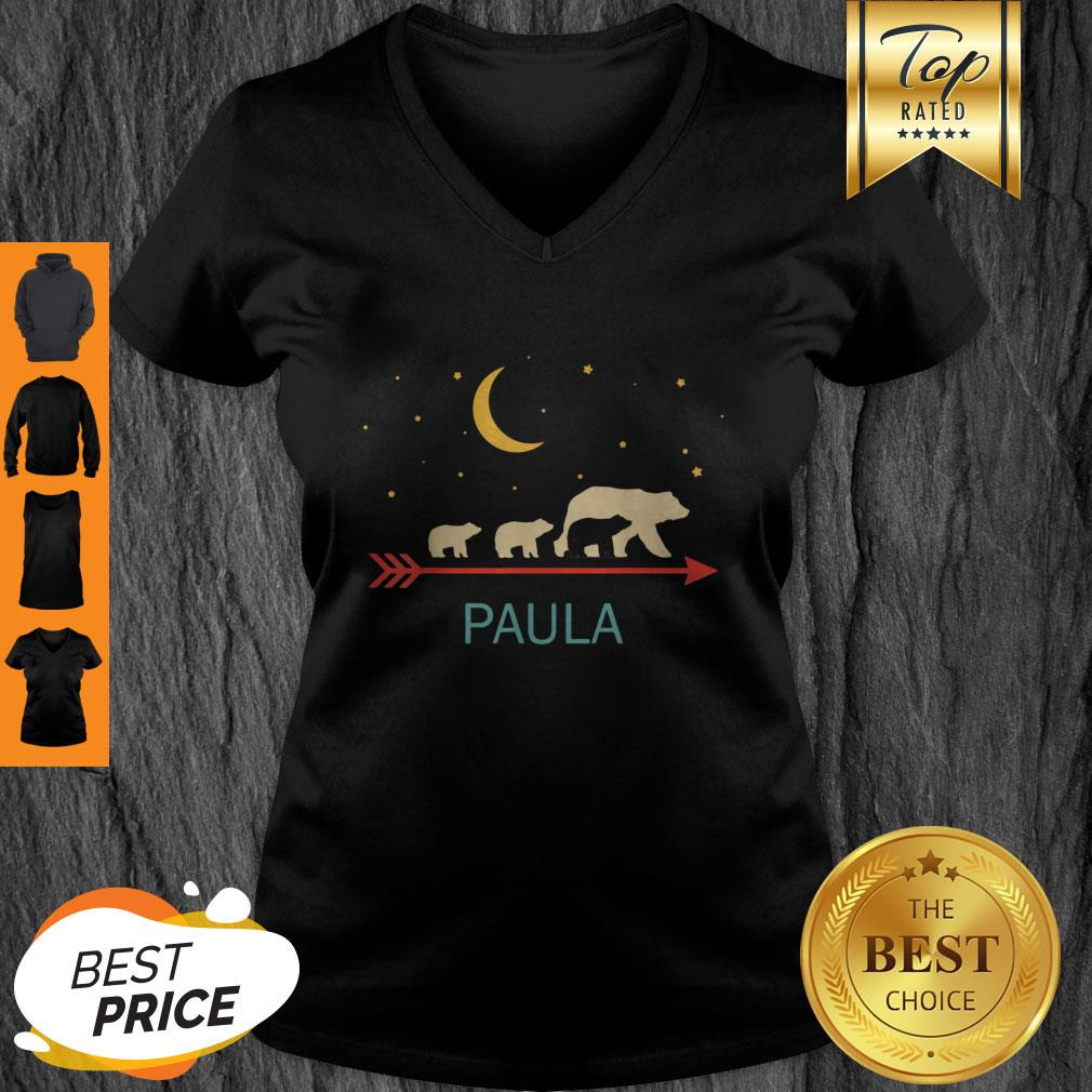 Top Paula Name Gift Personalized Mama Bear With 3 Cubs V-Neck