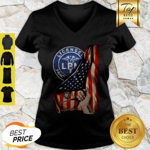 Licensed Practical Nurse Logo American Flag V-Neck